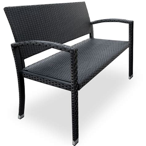 Wicker Patio Bench by Garden Bench Rattan Garden Furniture 2 Seater Black