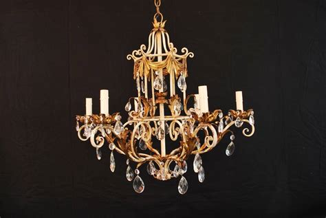 Iron And Chandelier 1950 Italian Wrought Iron And Chandelier For Sale