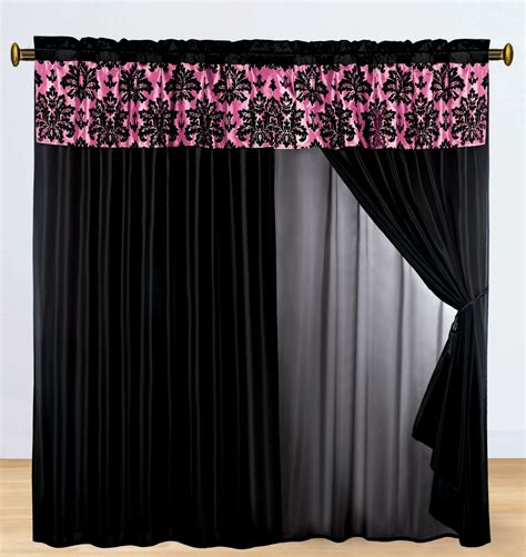 hot pink and black curtains 4 p silky satin flocking damask floral valance curtain set