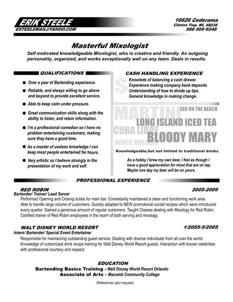 mixologist resume sle sle resume for bartender 28 100 images 25 unique