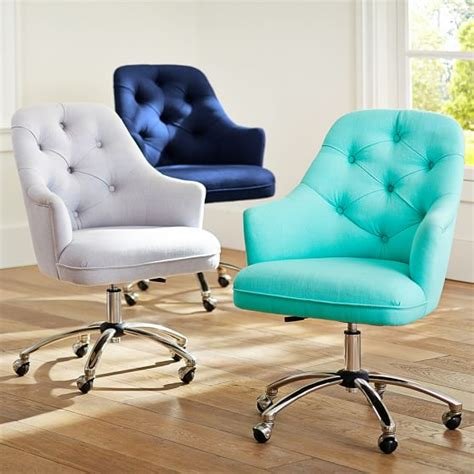 Desk Office Chairs Twill Tufted Desk Chair Pbteen