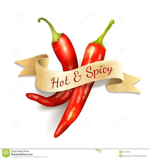 Spicy Kitchen by Chili Pepper Ribbon Badge Stock Vector Image 43472871