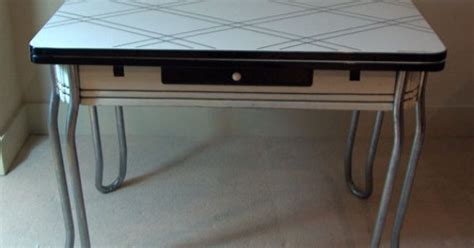 1940's Vintage Enamel Porcelain Table Black and White with