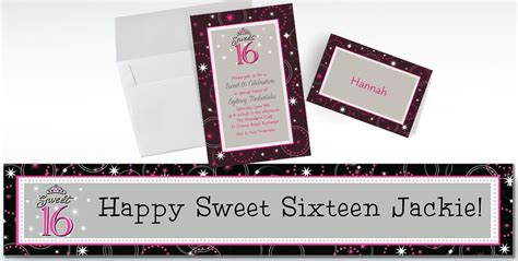 Custom Note 16 custom sparkle sweet 16 invitations thank you notes