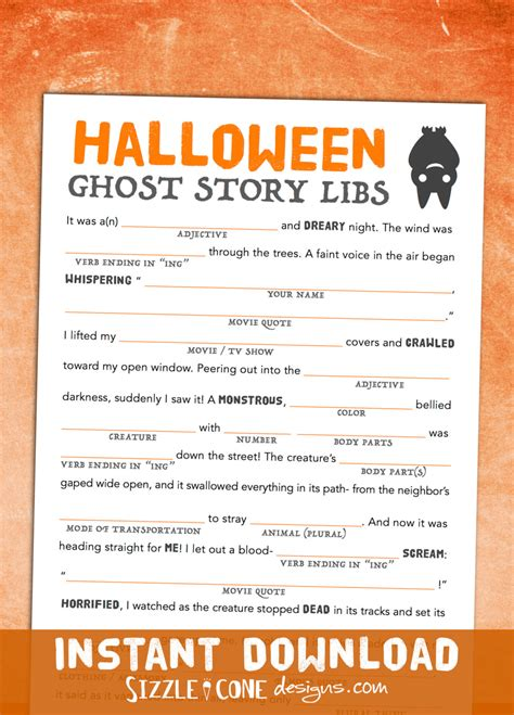 printable children s ghost stories halloween mad lib printable ghost story game for kids adults