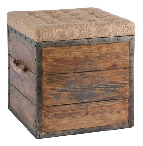 French Country Wood Crate Burlap Top Cube Ottoman Kathy