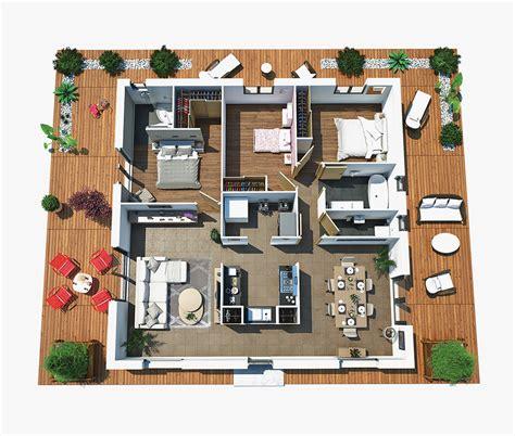 Plan De Maison Moderne 3d by Plan Maison Moderne 3d 3 Chambres