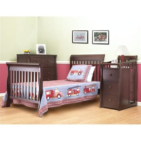 Newport Mini Crib Sorelle Newport 3 In 1 Mini Convertible Crib Changer Combo In Merlot 595 M