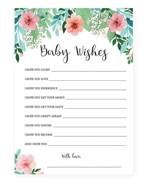 baby shower wish cards template printable new baby wishes for baby shower
