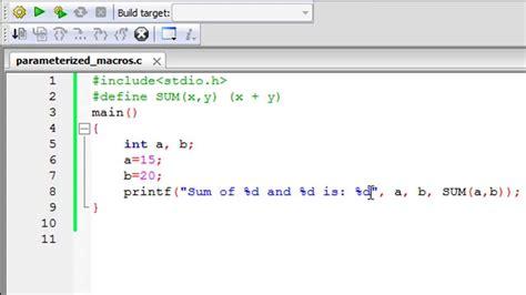 tutorial in c c programming tutorial 73 parameterized macros youtube