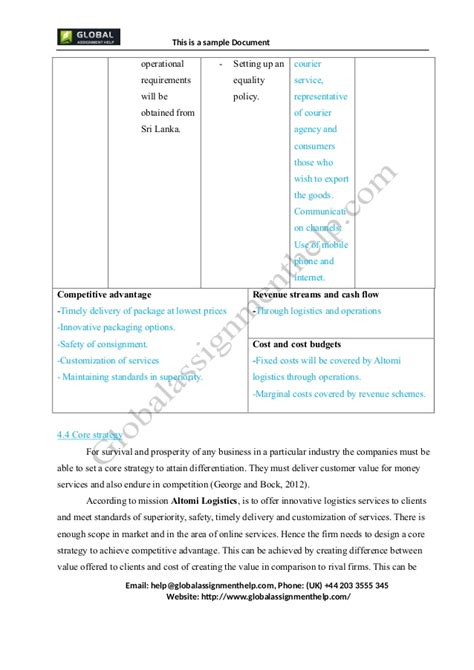 business plan for a company assignment sle