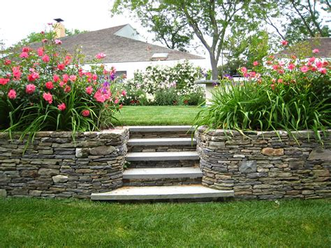 backyard steps stone retaining wall stone stairs home pinterest
