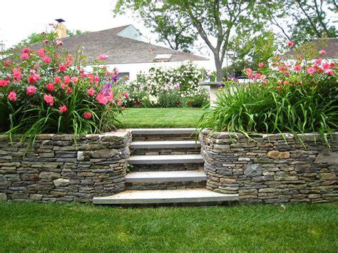 stone retaining wall stone stairs home pinterest