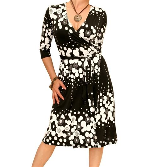 black  white patterned wrap dress