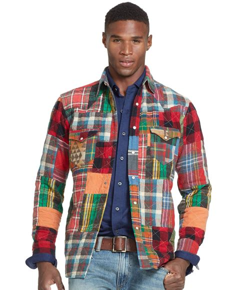 Patchwork Flannel - polo ralph patchwork flannel western shirt for