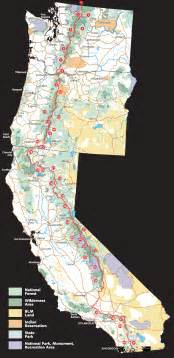 pacific crest trail route overview map california mappery