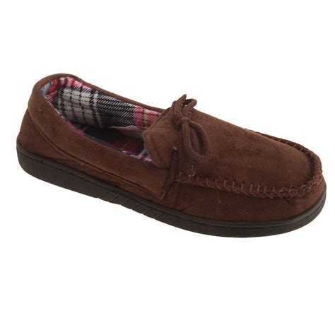 memory foam slippers mens mens slip on memory foam moccasin slippers ebay