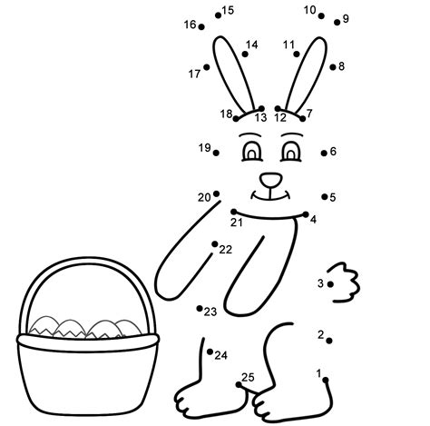 printable rabbit dot to dot easter bunny connect the dots count by 1 s easter