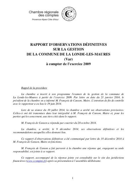 Lettre De Recommandation Commissaire Aux Comptes Rapport Cour Des Comptes La Londe Les Maures