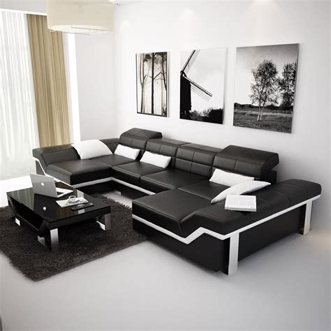 Large Modern Sectional by Large Black Modern Leather Sectionals From Opulent Items
