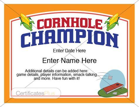 certificate corn hole awards bean bag toss