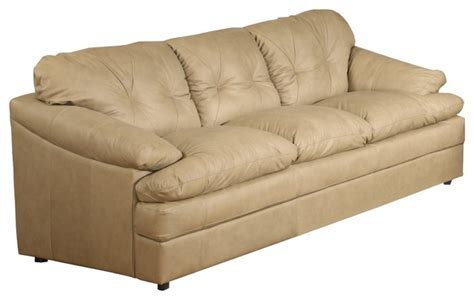 traditional isles olmec tufted beige leather sofa