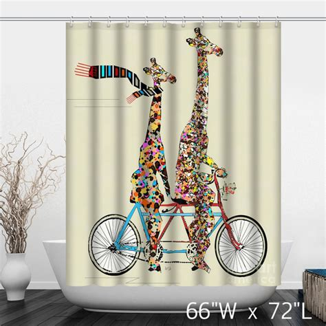 Bicycle Shower Curtain by Colorful Giraffe Ride Bike Shower Curtain Custom