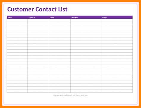 customer contact list template customer list format etame mibawa co