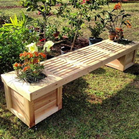 bench with flower box planter box gardening bench