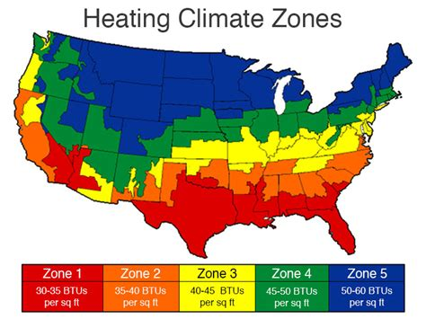 usa climate zone map calculate how many btus are needed to heat home inch