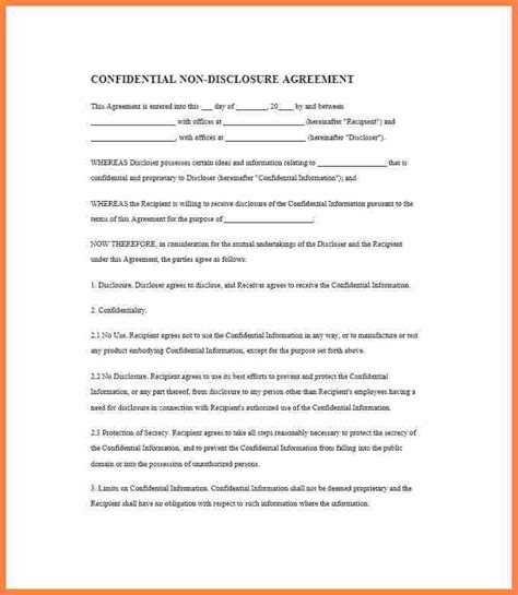 5 simple one page non disclosure agreement purchase