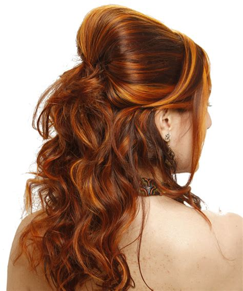 Half Up Long Curly Formal Wedding Half Up Hairstyle