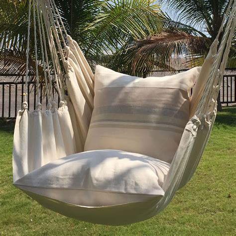 hammock swing chair the authentic hammock chair hammacher schlemmer
