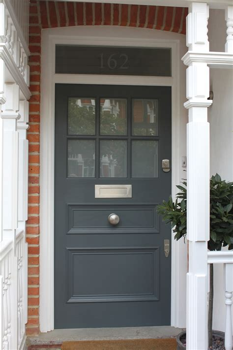 1930s Front Door In West London With Plain Sandblasted Glass Front Exterior Doors