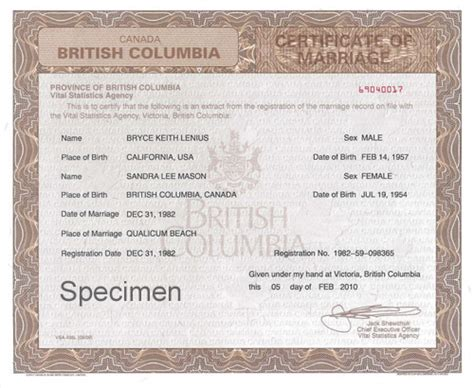 Marriage Certificates   Province of British Columbia