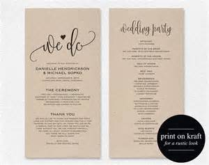 Program Templates Wedding by Wedding Program Template Wedding Program Printable We Do