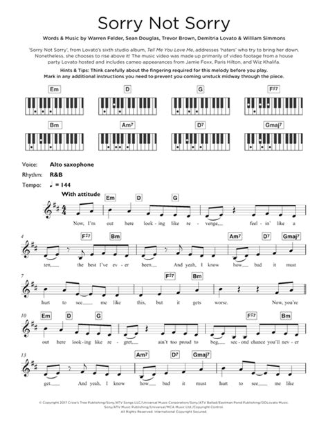demi lovato sorry not sorry sheet music demi lovato sorry not sorry sheet music