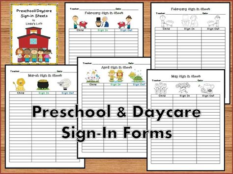 Preschool And Daycare Sign In Forms Clip Art Daycare Ideas And Childcare Preschool Sign In And Out Sheet Template