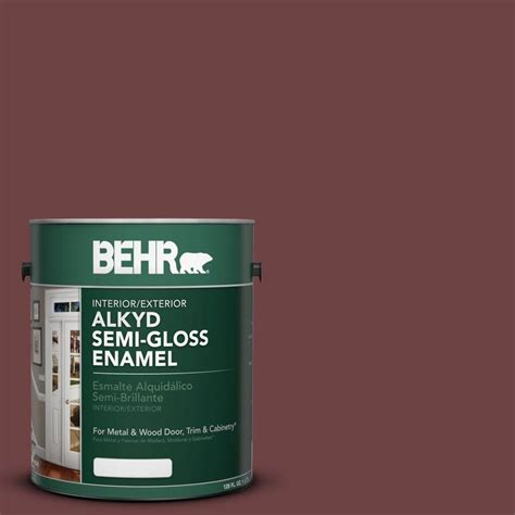 interior paint home depot behr 1 gal ae 6 colony red semi gloss enamel alkyd