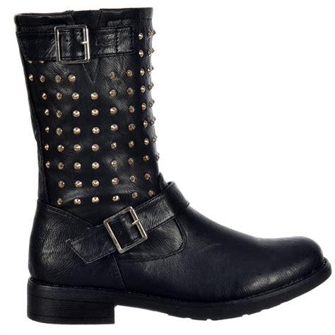 studded boots shoekandi buckled biker ankle boot studded black