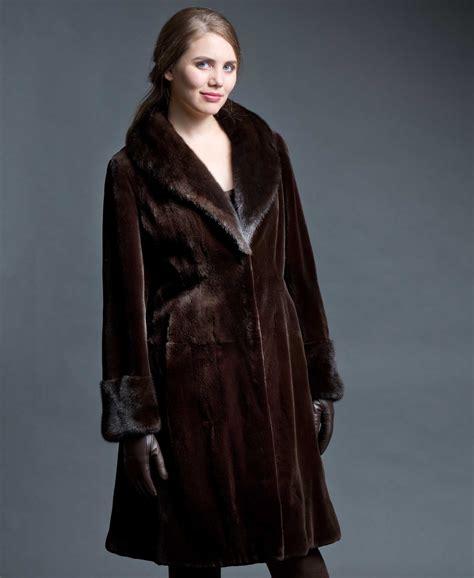 Mink Coat sheared mink 3 4 coat with mink collar cuff brown shown