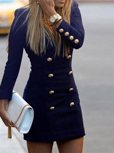 navy blue double breasted button   neck long sleeve