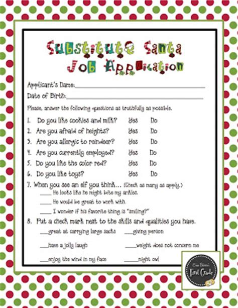 printable elf application classroom freebies substitute santa job application