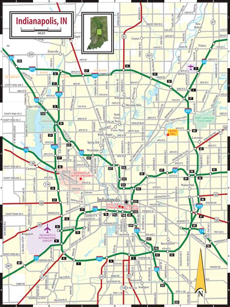 indiana road map indianapolis in map