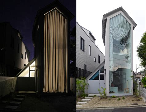 japan skinny house that s one big curtain for such a skinny house japan
