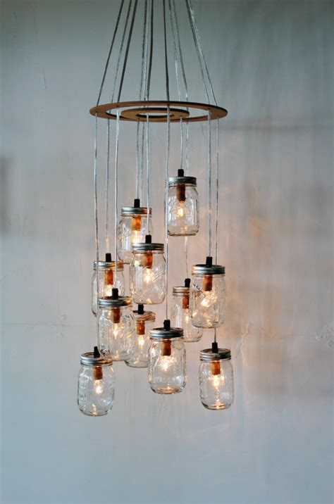 upcycled chandelier jar cluster chandelier upcycled hanging by