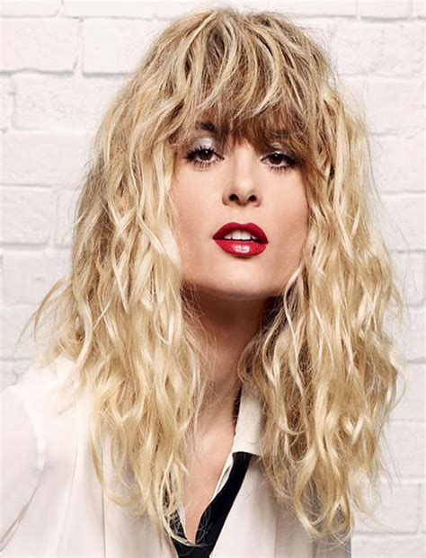 Perms For Long Hair With Bangs | 2018 popular long permed hair with bangs