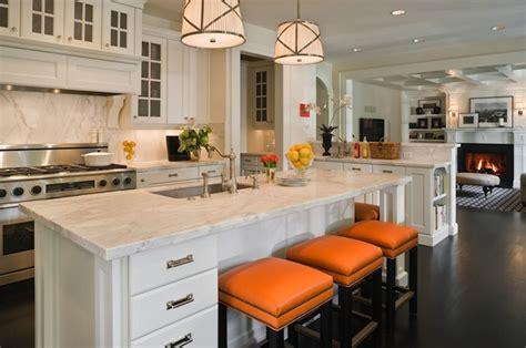 Grosvenor Kitchen Design orange bar stools transitional kitchen graciela