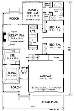 Houseplanguys by First Floor Plan Of The Kilpatrick House Plan Number 833
