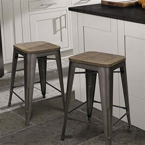 "Adeco 24"" Metal Counter Stools, Vintage Wood Seat Top"